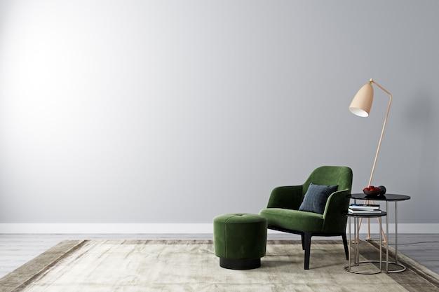 Jasny pokój z białą ścianą i modermowymi meblami