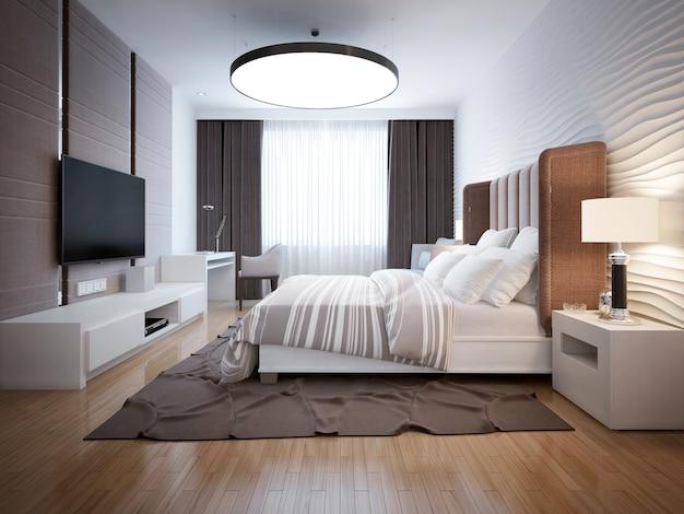 Jasny projekt współczesnej sypialni z białymi meblami i jasnym parkietem z dekoracyjnymi ścianami i dużymi oknami z czarnymi zasłonami.
