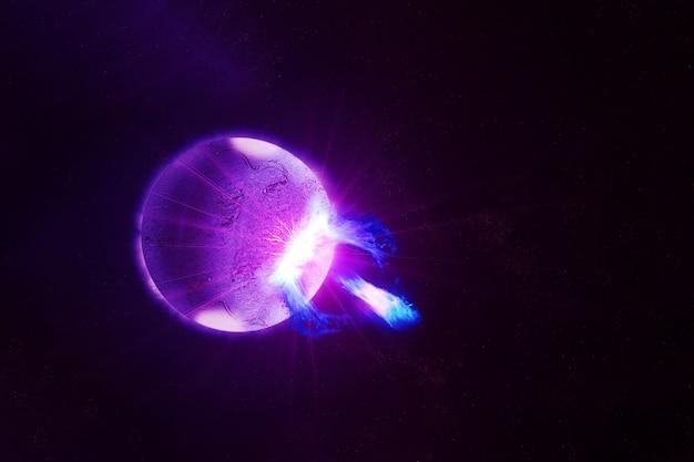 Jasny pulsar na ciemnym tle. elementy tego obrazu dostarczyła nasa. zdjęcie wysokiej jakości