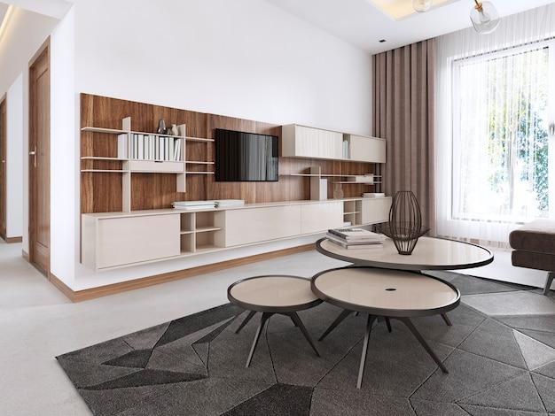 Jasny salon w jasnym stylu klasycznym z elementami art deco, ze stołem jadalnym przy oknie. renderowanie 3d