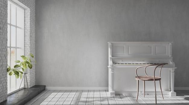 Jasny salon z dużym oknem i starym pianinem