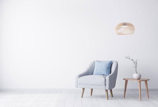 Jasny salon z szarym fotelem
