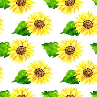 Jasny słonecznik z zielonymi liśćmi. wzór. ręcznie rysowane akwarela ilustracja. tekstura do druku, tkaniny, tkaniny, tapety.