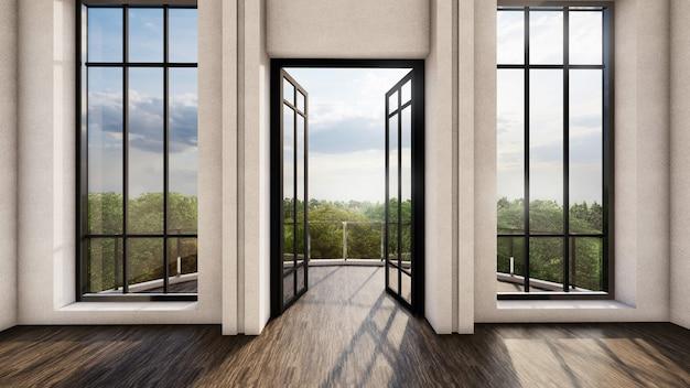 Jasny wystrój wnętrz z drzwiami i wysokimi oknami, światło dzienne z widokiem na las. renderowanie 3d