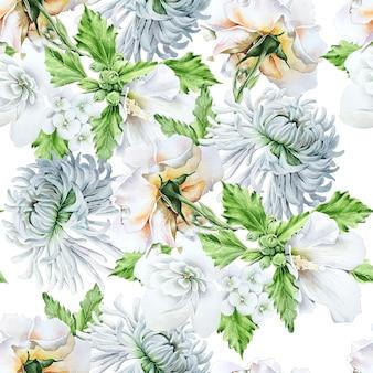 Jasny wzór z kwiatami. âsanhryzantema. malwa. róża. akwarela ilustracja. ręcznie rysowane.
