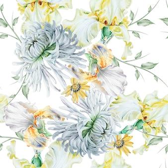 Jasny wzór z kwiatami. irys. chryzantema. akwarela ilustracja. wyciągnąć rękę.