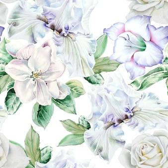 Jasny wzór z kwiatami. irys. róża. mieczyk. kwitnąć. akwarela ilustracja. wyciągnąć rękę.