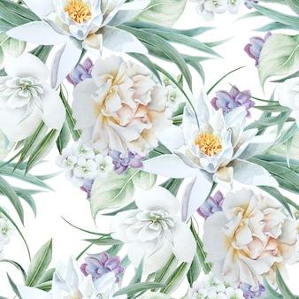 Jasny Wzór Z Kwiatami. Lilia. Róża. Akwarela Ilustracja. Wyciągnąć Rękę. Premium Zdjęcia