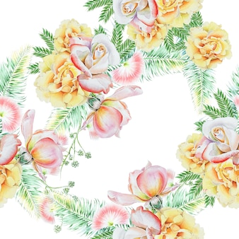 Jasny wzór z kwiatami. odchodzi. róża. akwarela ilustracja. ręcznie rysowane.