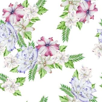 Jasny wzór z kwiatami. petunia. eustoma. soczysty. akwarela ilustracja. ręcznie rysowane.