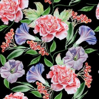 Jasny wzór z kwiatami. petunia. róża. jarzębina. akwarela ilustracja. wyciągnąć rękę.