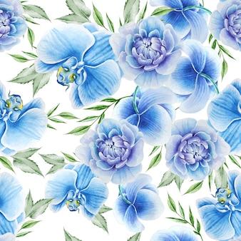 Jasny wzór z kwiatami. piwonia. orchidea. akwarela ilustracja. wyciągnąć rękę.