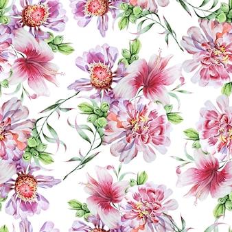 Jasny wzór z kwiatami. piwonia. poślubnik. akwarela ilustracja. ręcznie rysowane.