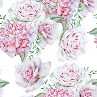 Jasny wzór z kwiatami. róża. akwarela ilustracja. ręcznie rysowane.