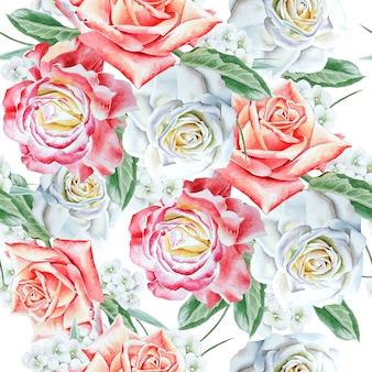 Jasny wzór z kwiatami. róża. akwarela ilustracja. wyciągnąć rękę.