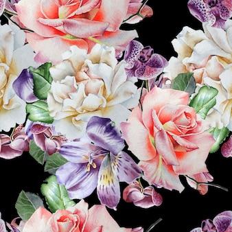 Jasny wzór z kwiatami. róża. alstroemeria. orchidea. akwarela ilustracja. wyciągnąć rękę.