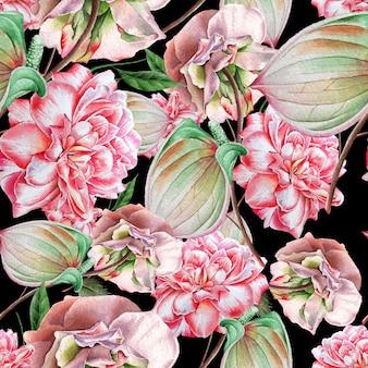 Jasny wzór z kwiatami. róża. anthurium. akwarela ilustracja. wyciągnąć rękę.