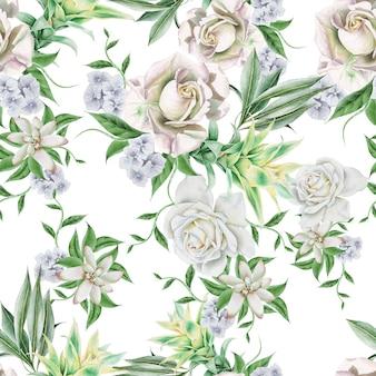 Jasny wzór z kwiatami. róża. bromeliad. akwarela ilustracja. wyciągnąć rękę.