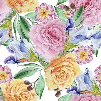 Jasny wzór z kwiatami. róża. irys. akwarela ilustracja. wyciągnąć rękę.