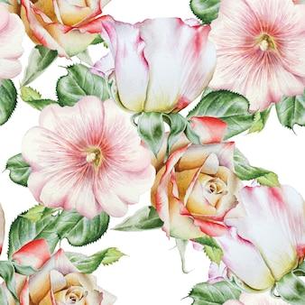 Jasny wzór z kwiatami. róża. malwa. akwarela ilustracja. wyciągnąć rękę.