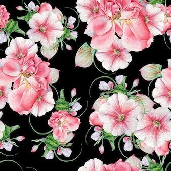 Jasny wzór z kwiatami. róża. petunia. kwitnąć. akwarela ilustracja. wyciągnąć rękę.