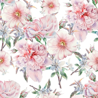 Jasny Wzór Z Kwiatami. Róża. Piwonia. Malwa. Akwarela Ilustracja. Wyciągnąć Rękę. Premium Zdjęcia