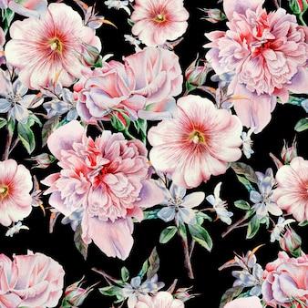 Jasny wzór z kwiatami. róża. piwonia. malwa. akwarela ilustracja. wyciągnąć rękę.