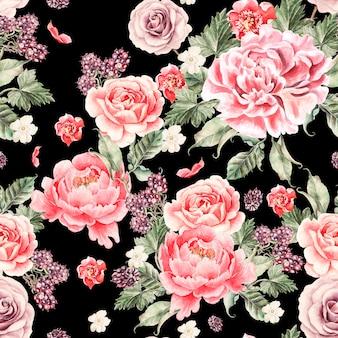 Jasny wzór z kwiatów piwonii, róż i jeżyn. ilustracja