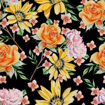 Jasny Wzór Z Różami. Akwarela Ilustracja. Wyciągnąć Rękę. Premium Zdjęcia