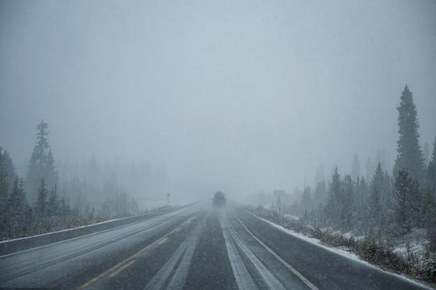 Jazda samochodem w ciężkim śniegu na autostradzie w lesie sosnowym w parku narodowym banff