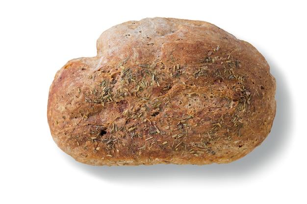 Jeden cały bochenek odizolowywający na białym tle żyto chleb.