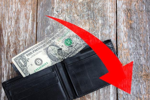 Jeden dolar leży w pustym skórzanym portfelu. czerwona strzałka w dół. spada kurs waluty. kryzys ekonomiczny. brak pieniędzy w torebce. ubóstwo i bezrobocie. stare drewniane rustykalne tło.