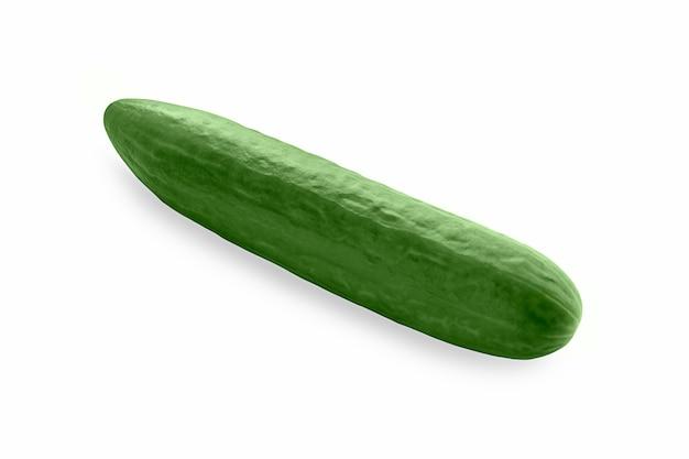 Jeden gładki zielony ogórek na białym tle