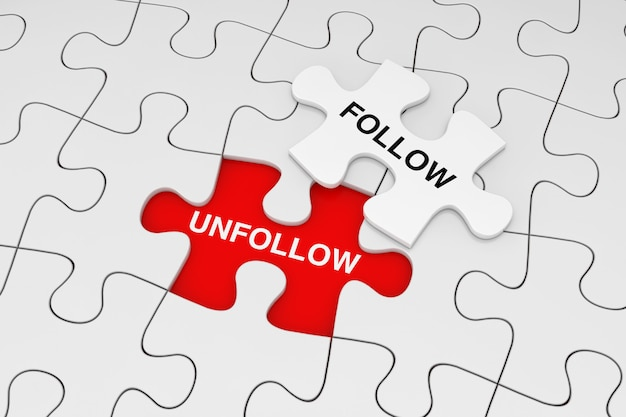 Jeden kawałek białych puzzli nad zwykłymi białymi puzzlami ze słowami follow and unfollow na czerwonym tle. renderowanie 3d