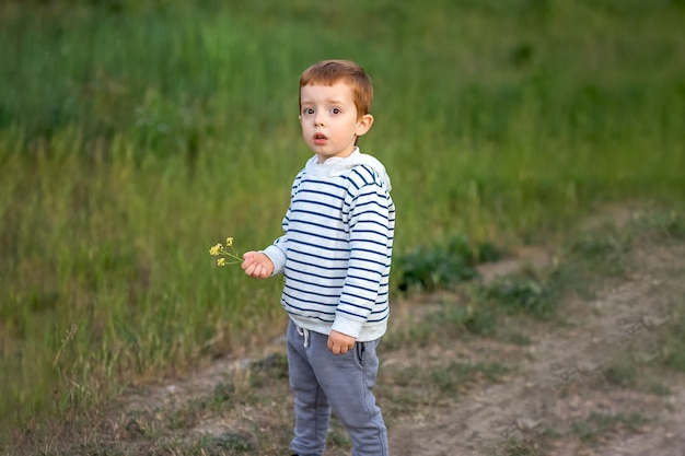 Jeden odważny chłopiec chodzi po górach.