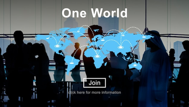 Jeden światowy związek związku związku interconnection pojęcie