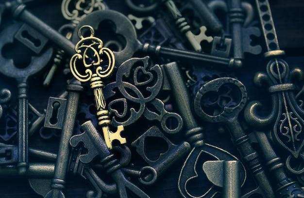 Jeden złoty klucz na tle różnych zabytkowych kluczy obraz koncepcji właściwego rozwiązania