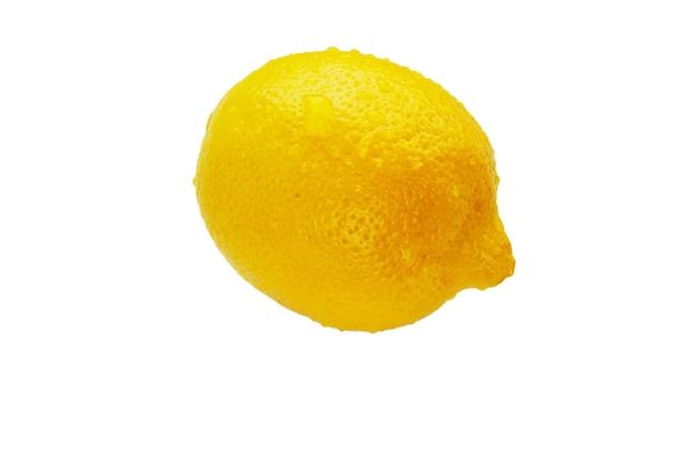 Jeden żółty na białym tle cały cytrynowy zbliżenie
