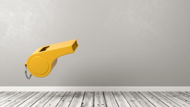 Jeden żółty plastikowy gwizdek w pokoju