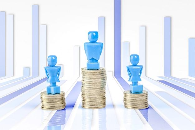 Jedna figurka mężczyzny i dwie figurki kobiet stojących na stosach monet.
