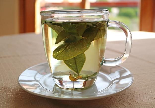 Jedna filiżanka gorącej herbaty kakaowej podawana na stole przy oknie