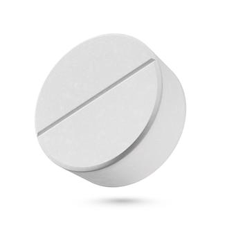 Jedna okrągła pigułka medyczna na białym tle.