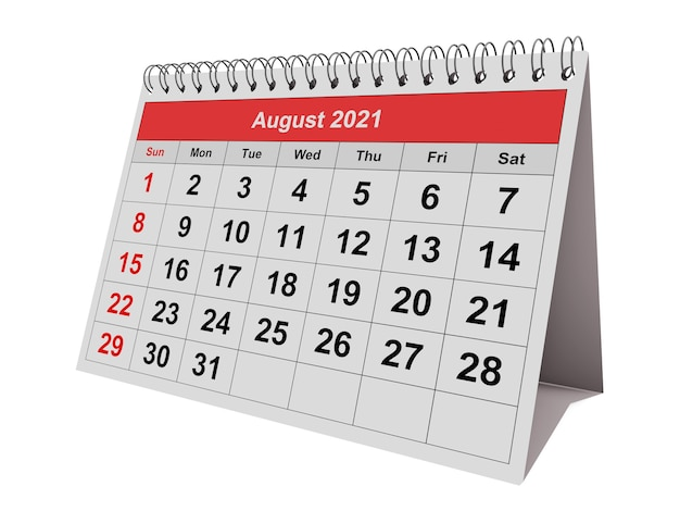 Jedna strona rocznego kalendarza miesięcznego sierpień