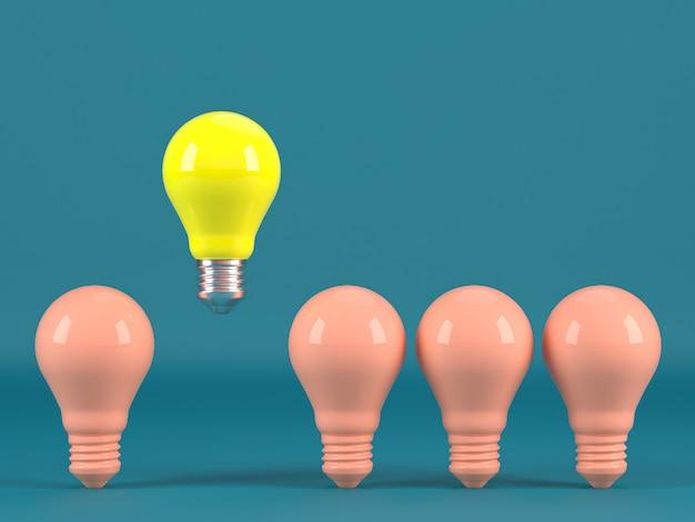 Jedna świecąca żarówka wyróżniająca się spośród nieoświetlonej indywidualności żarówek i różnych pomysłów na kreatywny pomysł renderowania 3d