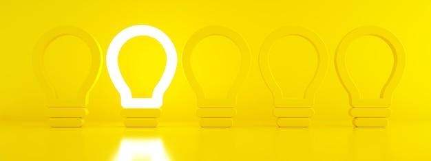 Jedna świecąca żarówka wyróżniająca się z nieoświetlonych żarówek na żółtym tle, indywidualność i inna koncepcja kreatywnych pomysłów, renderowanie 3d, obraz panoramiczny