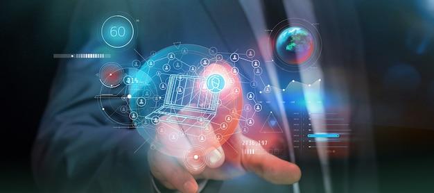 Jedno dotknięcie palca uruchamia infografikę o internecie i sieciach społecznościowych.