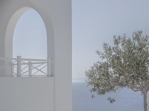 Jedno drzewo z zielonymi liśćmi w pobliżu białego budynku pokrytego mgłą w pobliżu pięknego morza