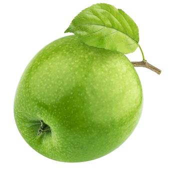 Jedno zielone jabłko na białym tle