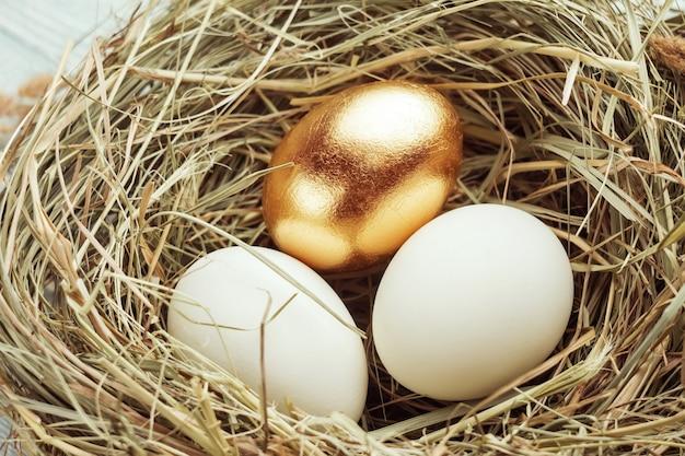 Jedno złote i dwa zwykłe jajka w gnieździe siennym. wielkanocna koncepcja