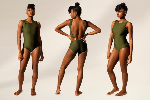 Jednoczęściowy zielony strój kąpielowy damski letni zestaw mody